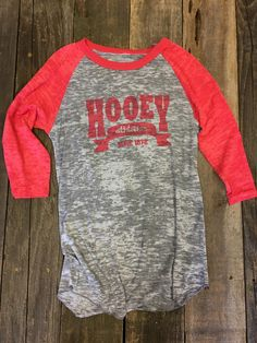 Baseball style t-shirt, burnout grey with red arms Junior sizes