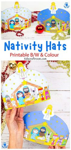 Make a gorgeous Christmas Nativity Hat Craft. The printable nativity hats come in full colour and B/W for kids to enjoy colouring in themselves. These Christmas hats are a wonderful way to celebrate the nativity story and make a super addition to your Christmas parties and celebrations in the home, classroom or Sunday school. A lovely religious Christmas craft for kids. (B/W and colour printable.) #kidscraftroom #nativitycrafts #Christmascrafts #christmashats #kidscrafts