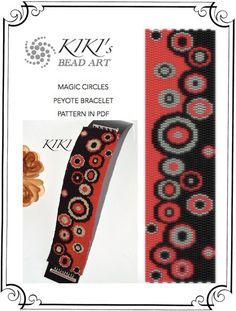 Pattern, peyote bracelet - Magic circles dot and circle patterned fashionable peyote bracelet cuff PDF pattern instant download