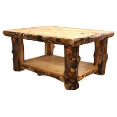 Rustic Aspen Log Sofa Table