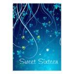 Teal Blue Sweet Sixteen Birthday Party Invitation