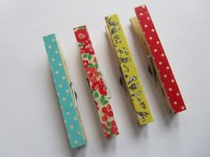 Magnetic pegs made with Cath Kidston tape  by louisefernedesigns, £4.50