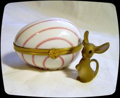 Limoges France French Trinket Box Signed Stripped Egg Mouse Peint Main Limoge