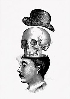 Victorian man and skull with hat collage print You blow by PRRINT
