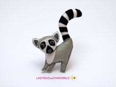 Felt LEMUR stuffed felt Lemur magnet or ornament Lemur toy