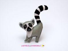 Felt LEMUR stuffed felt Lemur magnet or ornament Lemur toy
