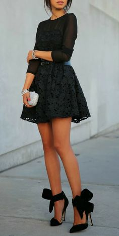 Black Bow Shoes with flirty black dress