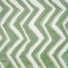 This looks so much better in person!! In this month's Traditional Home. Chevron Bar Silk Warp Print - Leaf - Indoor Multipurpose Fabric Brunschwig
