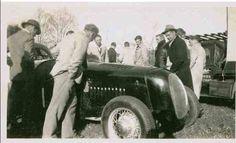 Doug Whiteford's Ford V8 Spl, 'Black Bess' at Woodside in the Adelaide Hills, 1949 (SLSA)...