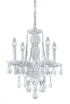 Crystorama All White glass arm Chandelier 4 Lights - Wet White - 1074-WW-WH-MWP