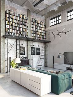 The structure of this book shelve is amazing!   Industrial decor/ Industrial design/ Industrial inspired/ Industrial inspired apartment/ Industrial inspired living room/