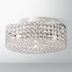 """Velie 12"""" Wide Round Crystal Ceiling Light"""