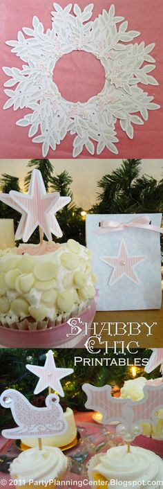 Printable shabby chic wreath, gift bags and cupcake toppers