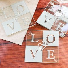 Glass coasters are a practical wedding favor, bridal shower favor or anniversary party favor that all your guests will appreciate.  It comes in a set of four with each one featuring a bold design spelling out the word LOVE.  Gift boxed and ready to go!