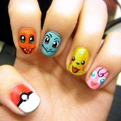 Superhero Nail Art Designs 2015 - Pokemon Nails by Marlene-Jannel