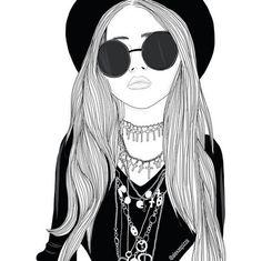 Image via We Heart It #art #blackandwhite #draw #drawing #girl #grunge #indie #outline