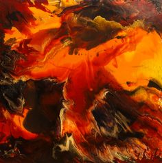 How to do acrylic pour painting. Photo - Big Flow - Acrylic Pour Painting in Warm Hues copyright 2014 by Linda Ryan