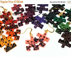 CHRISTMAS SALE Puzzle earrings  Puzzle piece by DarkFireHandmade