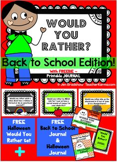 Back to School Journal ~ WOULD YOU RATHER ~ Halloween Would You Rather Freebie!  with 2 FREE printable journals. #free #journal