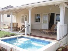 * hand rail on plunge pool straight off the veranda. Don't like the style of the veranda but it's a great idea for me!
