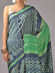 Buy Indigo Green Shibori Tussar Silk Saree Online at Jaypore.com