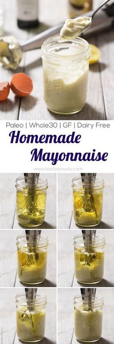 Easiest 3 minute homemade paleo and Whole30 mayonnaise recipe, made in a mason jar with a hand immersion blender. #HomemadeMayonnaiseRecipe