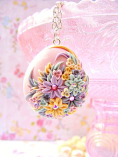Pink Pastel Spring Necklace Pendant Polymer Clay by Sweetystuff, £35.00