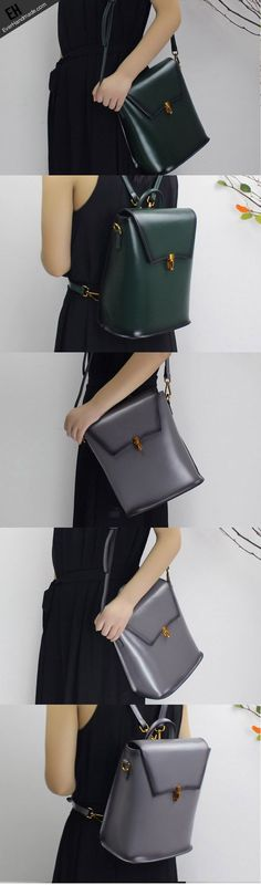 Genuine Leather backpack bag shoulder bag black brown for