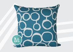 Aquarius Dark Turquoise Blue Circles Freehand Pillow Cover Sham - Many Sizes Lumbar, 12, 14, 16 - Zipper Closure - sc246l