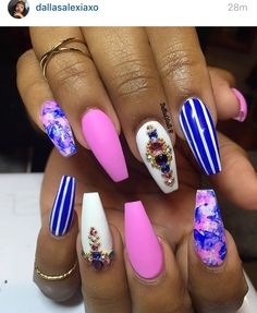 Pink blue and white stiletto nails. Marble stripes and gems