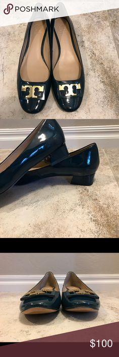 Tory Burch Gigi Box Heel Pumps These are absolutely gorgeous! They are a dark greenish color (maybe even a dark teal?) and are in excellent condition. Tory Burch Shoes Heels
