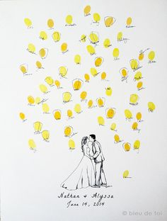 Custom Couple with wish lanterns Guest book by bleudetoi on Etsy Wedding Tree Guest Book, Guest Book Tree, Card Box Wedding, Guest Books, Wedding Book, Diy Wedding, Wedding Favors, Wedding Invitations, Card Drawing