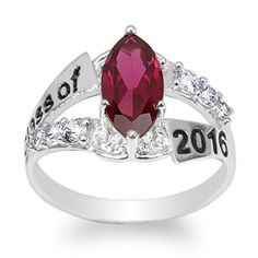 JamesJenny 925 Sterling Silver Graduation 2016 School Ring with Marquise Dark Red CZ Size 4 * See this great product. High School Rings, Promise Rings For Her, Dark Red, Ring Designs, Garnet, Jewelry Rings, Heart Ring, Graduation 2016, White Gold