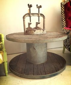 Industrial Spool Coffee Table  $375