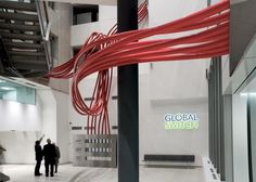 Australian artist Chris Fox created the CONVERGENCE Sculpture located in the lobby/atrium of the Global Switch data centre solutions office in Paris, France