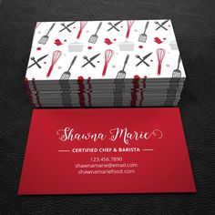 Really neat Premade Business Card Design - Print Ready - Printable Business Card -  Red and Black  - PDF & JPEG - 300 DPI 30.00 USD from BrandiLeaDesigns business card calling card premade graphic design template custom professional business card design DIY simple food black and white cooking http://ift.tt/1JqN9As