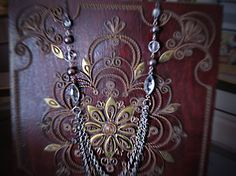 Silver Four Strand Plum and Crystal Necklace by BohoChicJewelry11, $35.00