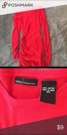 Women's tight fit long sleeve dress Red long sleeve tight fit dress for women Moda size XS Moda International Dresses Long Sleeve