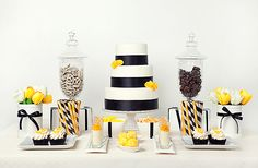 "beautiful yellow and black dessert table via Photokitchen, designed by Diana louise ""punky"" Porca"