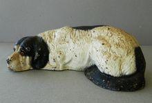 Antique Cast Iron Reclining Newfoundland Dog