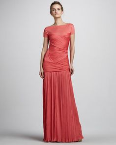 dress : 759 Dollars Short-Sleeve Plisse Gown with Sheer Yoke by Halston Heritage at Bergdorf Goodman.