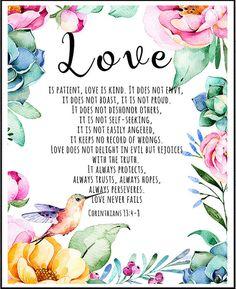 Love is patient Love is kind Bible Verse 1 by LeelaPrintableArt #weddingsign #lovequote #bibleverse