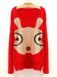 Cartoon Glasses Rabbit Sweaters Red$50.00