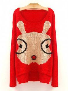 Cartoon Glasses Rabbit Sweaters Red$50.00