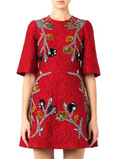 Dolce & Gabbana Appliqué floral-brocade dress