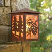 Rustic porch lighting for a cabin or log home.
