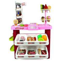 Velocity Toys Ice Cream Desserts Shop and Market Children's Kid's Pretend Play Toy Food Play Set