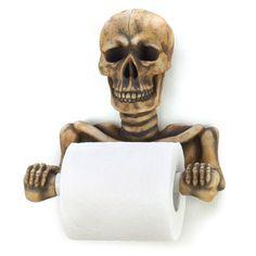 Spooky Skull Toilet Paper Holder Skeleton Gothic Bath Decor New | eBay