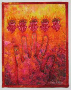 """Linda A Miller """"Handprint""""  Quilt https://www.etsy.com/listing/113683849/small-art-quilt-handprint"""
