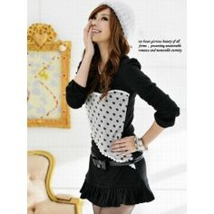 Long sleeve pleat skirt dress with polka dot grey heart on front.  Without belt.